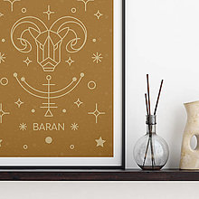 Grafika - BARAN, medový print - 13175276_