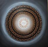 Obrazy - Mandala NEKONEČNÁ LÁSKA A ŠŤASTIE ♥ (grey-black-white) 70 x 70) - 13174298_