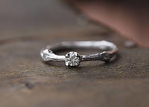 Prstene - Vetvičkový strieborný s diamantom - 13173515_