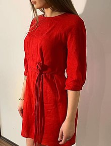Šaty - červené ľanové šaty - 13174949_