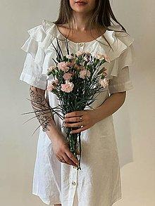 Šaty - snehovo biele ľanové šaty - 13175113_