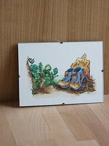 Iné - Turistické topánky s lesom, akvarel, art print, nástenná dekorácia do domu - 13174216_