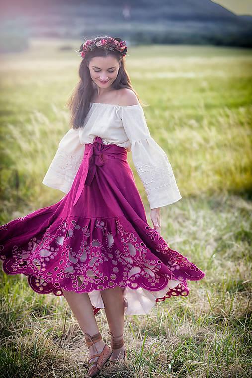 madeirová sukňa Poľana (Ružová)