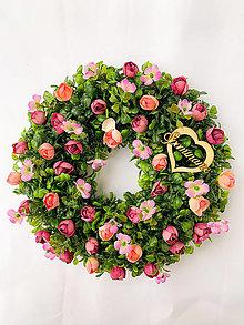 Dekorácie - Spomienkový venček (ružová) - 13171091_