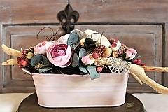 Dekorácie - Aranžmán ružový oválny - 13172094_