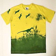 Detské oblečenie - Žluto-zelené dětské tričko s dinosaury (8 let) 12340399 - 13175374_