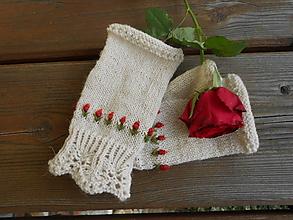 Rukavice - Bezprstové rukavice - Tulipán s korálkami - 13176832_