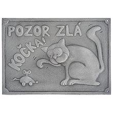 Tabuľky - Pozor zlá kočka - výstražná tabuľka, ceduľka - 13176194_