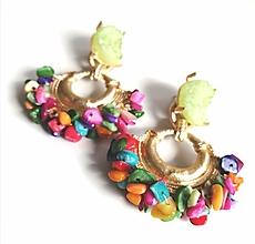 Náušnice - Náušnice so zlomkami z farbenej perlete - 13177571_