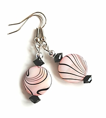 Náušnice - Náušnice s perleťovými plackami, ružové - 13177615_