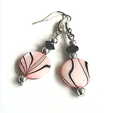 Náušnice - Náušnice s perleťovými plackami, ružové - 13177635_
