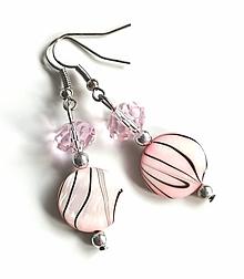 Náušnice - Náušnice s perleťovými plackami, ružové - 13177667_