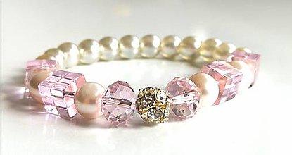 Náramky - Korálkový náramok, pastelová ružová - 13177721_