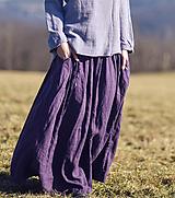 Sukne - Maxi sukně lněná švestková - 13178624_