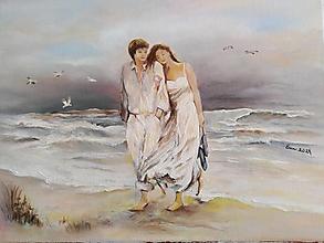 Obrazy - Dvaja pri mori... olejomaľba - 13179835_