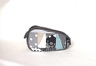 Taštičky - Kozmetická taštička s patchworkom šedá - 13181204_