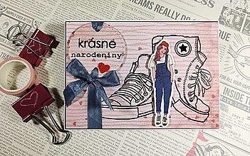 Papiernictvo - Krásne narodeniny botasky pohľadnica - 13181427_