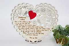 Dekorácie - Poďakovania rodičom Ľudové srdce - 13179931_