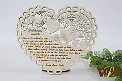 Dekorácie - Poďakovania rodičom Ľudové srdce - 13179934_
