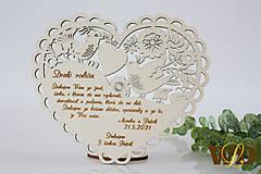 Dekorácie - Poďakovania rodičom Ľudové srdce - 13179940_