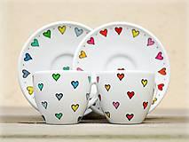 Nádoby - Porcelánová šálka s podšálkou - Srdiečka - 13180556_