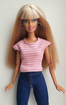 Hračky - Ružové pásikavé tričko pre Barbie - 13183166_