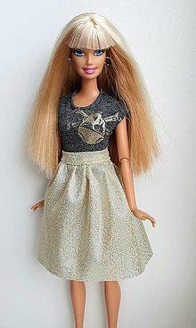 Hračky - Zlatá glitter sukňa pre Barbie - 13183505_