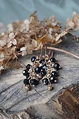 Náušnice - Náušnice čierno - zlaté - 13182995_