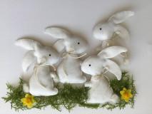 Dekorácie - Veľkonočný zajačik biely ekologický  - 13179985_