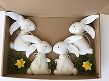 Dekorácie - Veľkonočný zajačik biely ekologický  - 13179986_