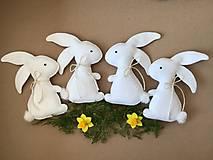 Dekorácie - Veľkonočný zajačik biely ekologický  - 13180049_