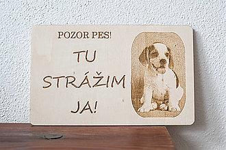 Tabuľky - Pozor pes s vlastnou fotkou - 13182576_