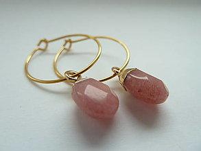 Náušnice - n á u š n i c e ... Boho strawberry quartz - 13180325_