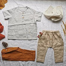 Detské oblečenie - Detská ľanová košieľka Vrabček (krátky rukáv) - 13182455_