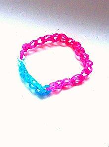 Náramky - Neónový gumičkový náramok (modrá a ružová) - 13179853_