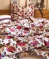 Úžitkový textil - Ľanové posteľné obliečky VIOLA (140x200cm 70x90cm farba kvety+mauve - Fialová) - 13180098_