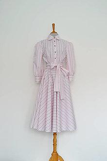 Šaty - Ružovkasté košeľové šaty s prúžkami a viazaním v páse - 13180905_