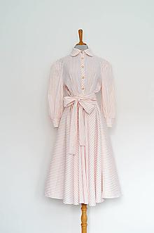 Šaty - Lososové košeľové šaty s prúžkami a viazaním v páse - 13181028_