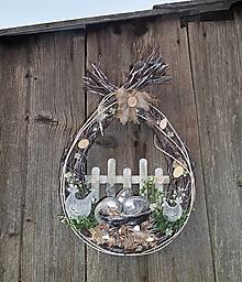 Dekorácie - závesné prútené veľkonočné vajíčko - 13188474_
