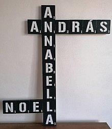Tabuľky - Scrabble - drevené  písmenká na stenu, čierno-biele - 13187709_