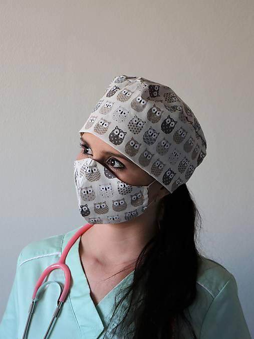 Dizajnová operačná / chirurgická čiapka sovy béžové