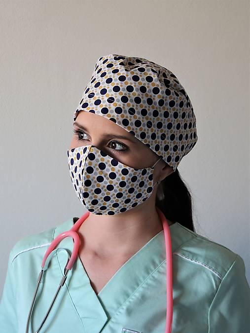 Dizajnová operačná / chirurgická čiapka bodky 3 farby