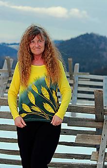 Tričká - Dámske tričko batikované, maľované CROCUS FLAVUS - 13185240_