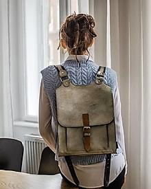 Batohy - Kožený batoh zlato-stříbrný - 13186353_
