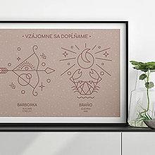Grafika - ZNAMENIA 2v1, s tvojím textom, ružový print - 13189094_
