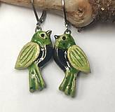 Náušnice - Keramické náušnice - vtáčiky zelené - 13187628_