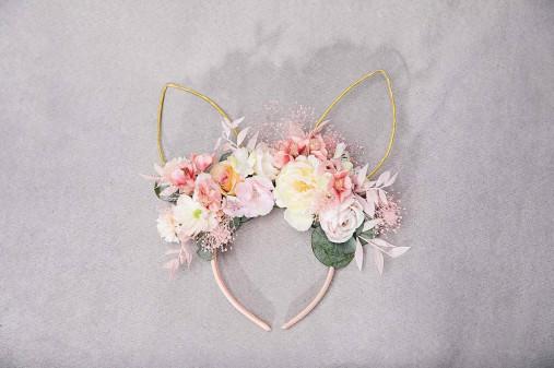 """Kvetinová čelenka """"zajko v tráve"""" - ružová"""