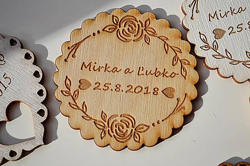 Svadobná drevená magnetka (kruh ruže natural)