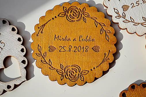 Svadobná drevená magnetka (kruh ruže zlatá)