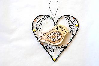 Dekorácie - Srdce s vtáčikom - 13185119_